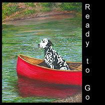 acrylic painting of dalmatian in canoe