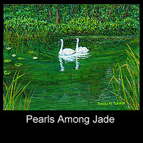 impressionist acrylic painting of swans