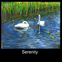 impressionist painting of trumpeter swans