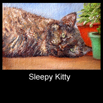 oil painting ACEO of cat