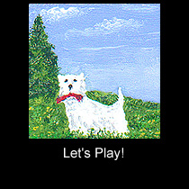 miniature painting of west highland terrier dog