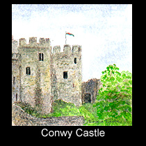 watercolor painting of Conwy Castle in Wales