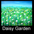 acrylic abstract landscape painting of daisies (SOLD)