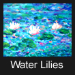 acrylic abstract landscape painting of water lilies (SOLD)
