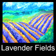 acrylic abstract landscape painting of lavender fields (SOLD)