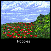 landscape painting of field of poppies