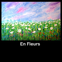 abstract landscape acrylic painting of flower garden