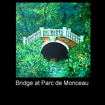 landscape painting of bridge in woods