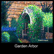 painting of garden arbor with flowers