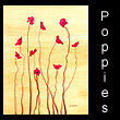 miniature abstract painting of poppies (SOLD)