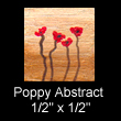 miniature abstract painting of poppies(SOLD)