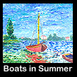 miniature impressionist painting of boats (SOLD)