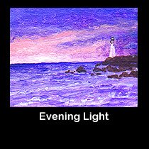 miniature seascape painting of lighthouse (SOLD)