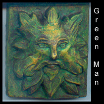 wall sculpture of green man