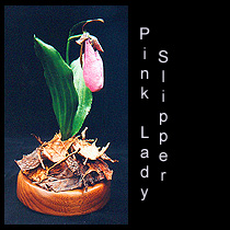 leather sculpture of pink lady slipper orchid flower