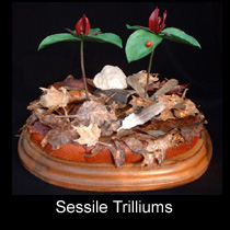 leather sculpture of sessile trillium flowers and ladybug